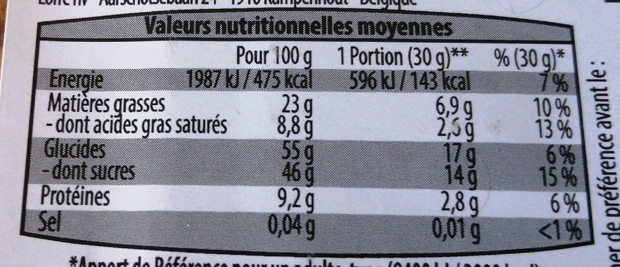 mélange éxotique - Nutrition facts - en