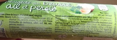 Spécialité au beurre, ail et persil - Voedingswaarden - fr
