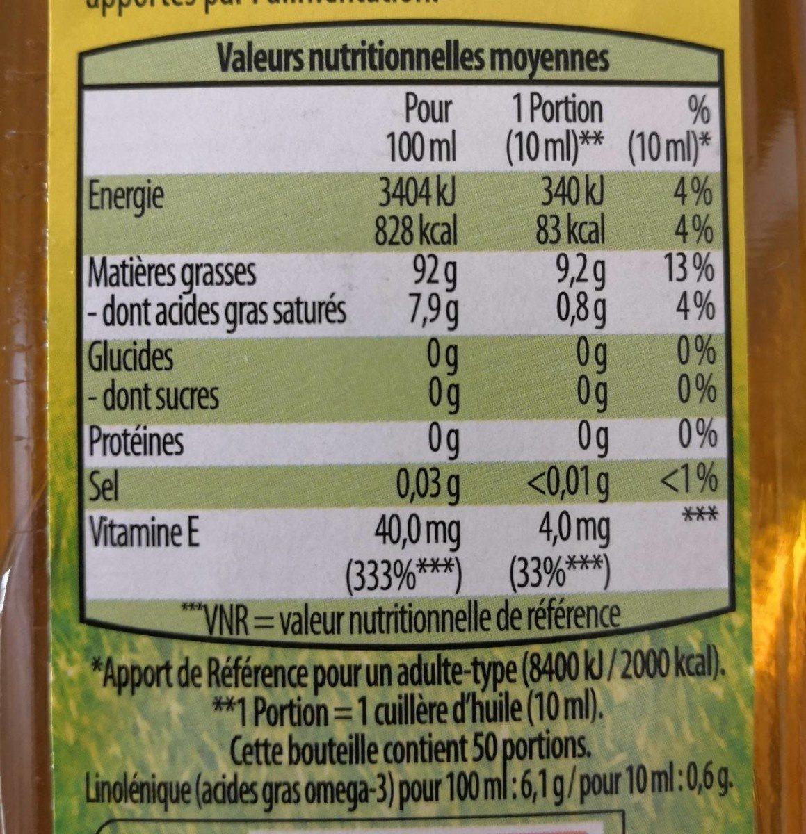 Huile pour Salade Riche en Oméga 3 - Informations nutritionnelles - fr