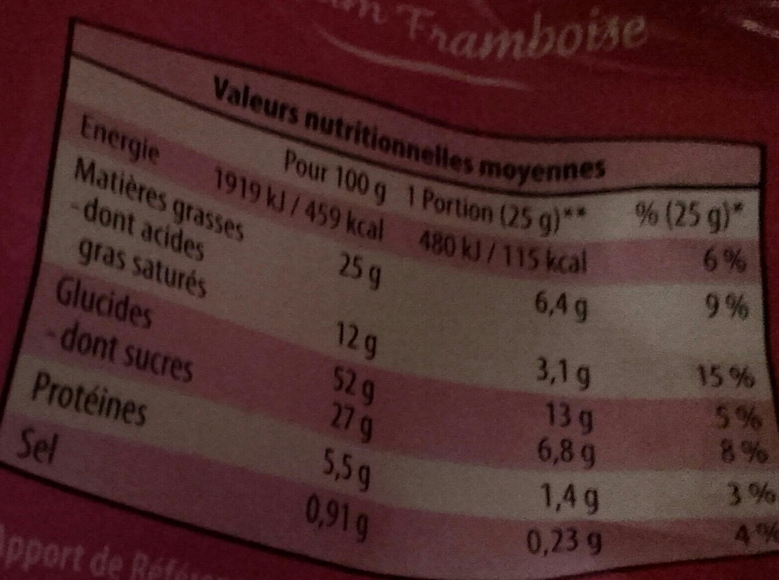 Madeleines parfum framboise - Informations nutritionnelles