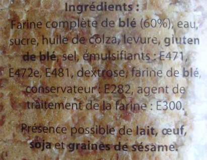 Pain Sandwich, Complet (Extra Moelleux) 14  Maxi Tranches - Ingredienti - fr