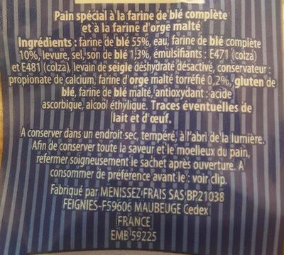 Pain spécial campagne à la farine d'orge maltée et toréfié - Ingrediënten - fr