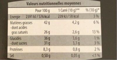 Chocolat noir à la Fleur de Sel - Nutrition facts - fr