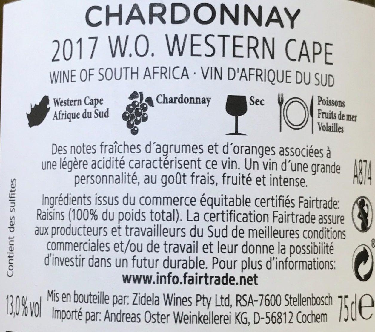 2017 Chardonnay Afrique du Sud - Ingredients