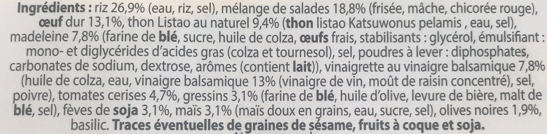 Salade repas thon riz oeuf - Ingrédients - fr