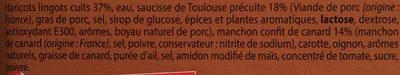 Cassoulet au Confit de Canard  et Saucisse de Toulouse - Ingrédients - fr