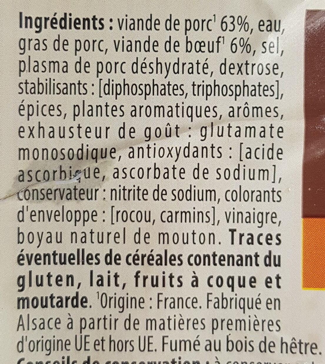 Knacks d'Alsace qualité supérieure - Ingrédients - fr