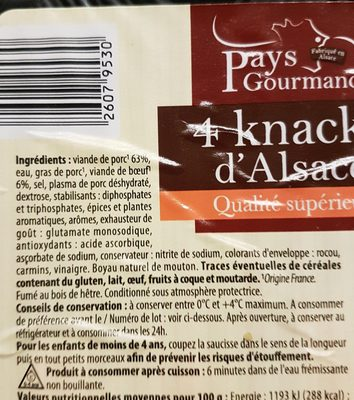 Knacks d'Alsace - Ingrediënten