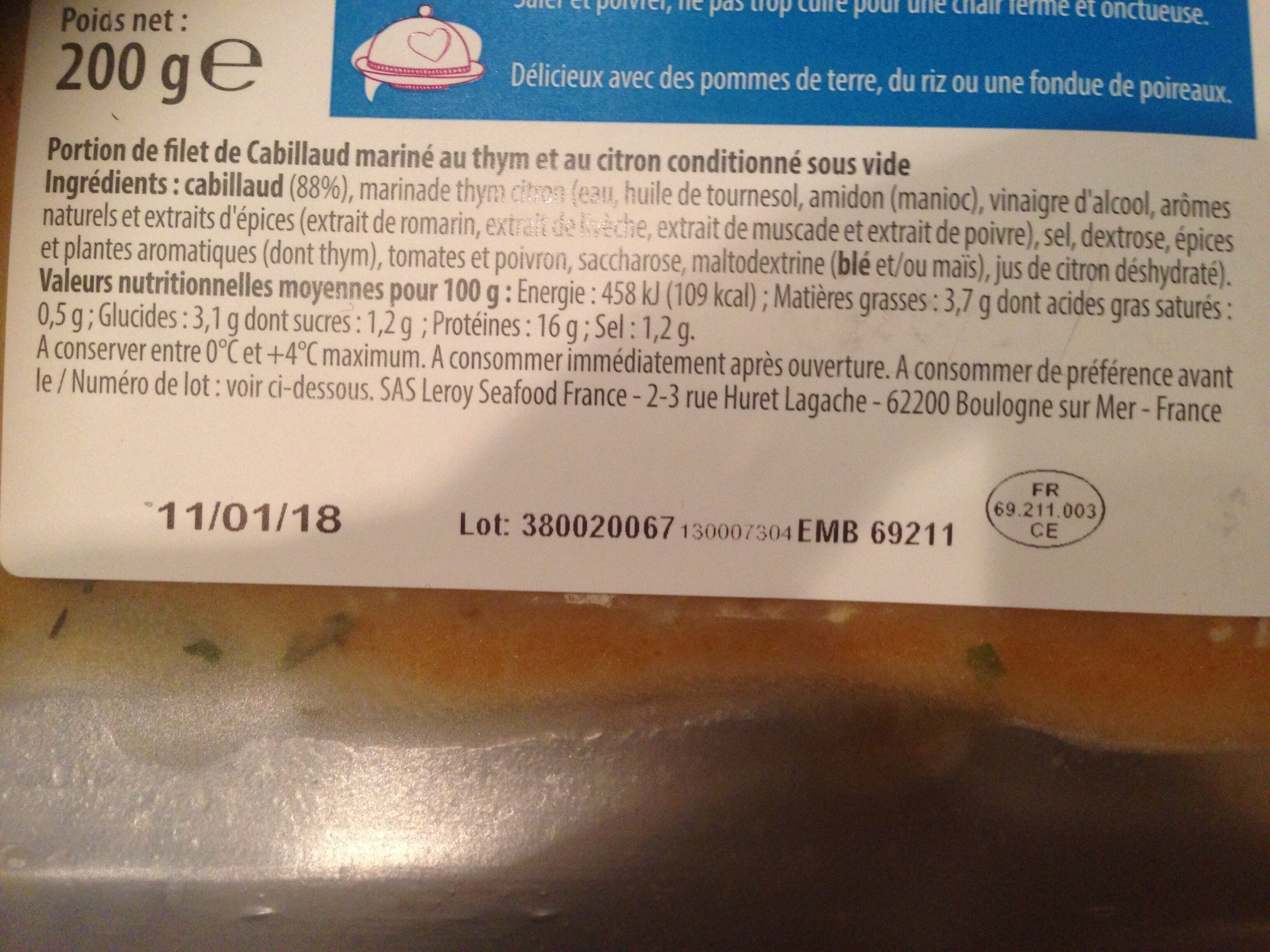 Cabillaud mariné thym citron - Ingrediënten
