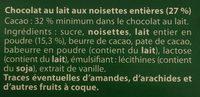 Lait noisette - Ingrédients