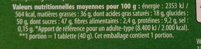 Lait noisette - Informations nutritionnelles