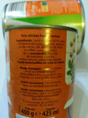 Pois chiches curry - Ingredients - fr