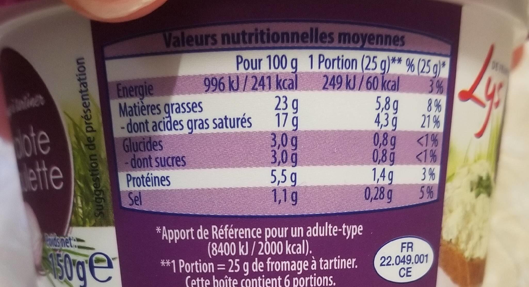 Fromage à tartiner Noix aromatisé - Informations nutritionnelles - fr
