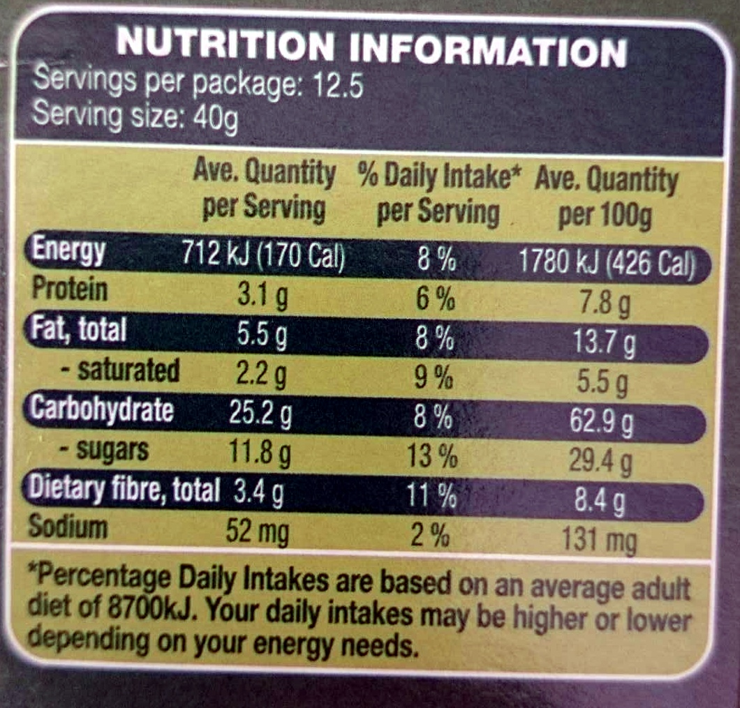Muesli Clusters Fruity - Nutrition facts