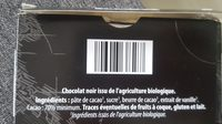 Chocolat noir bio - Ingredients