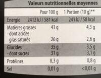 Chocolat noir bio - Nutrition facts