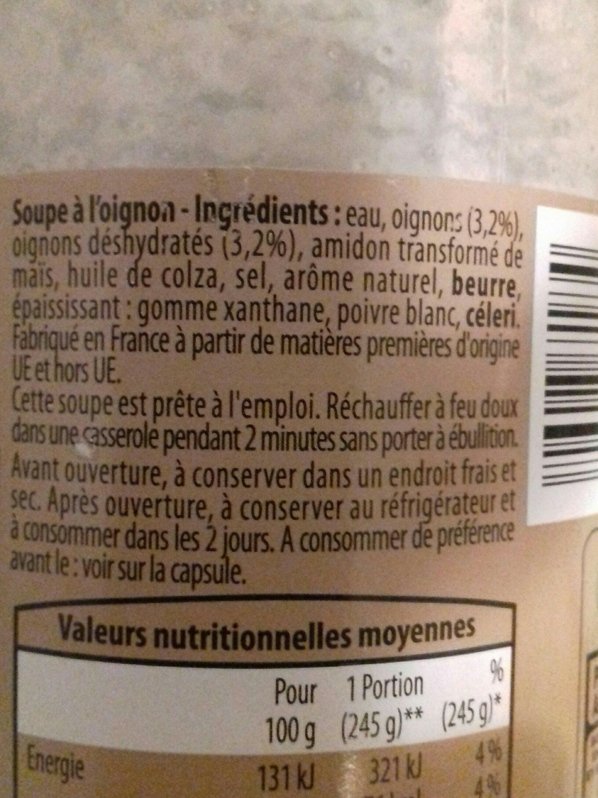 Soupe à l'oignon - Ingrediënten