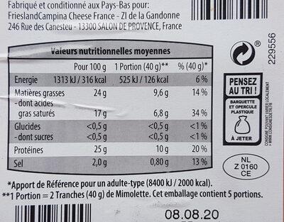 Mimolette - Voedingswaarden - fr