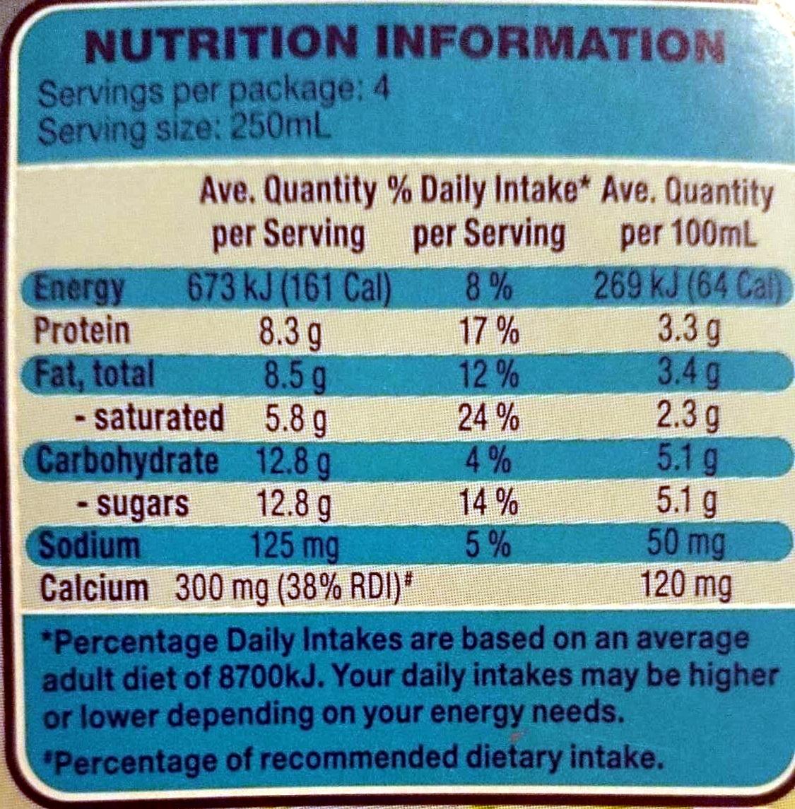 Farmdale Full Cream Long Life Milk - Nutrition facts - en
