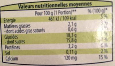 Soja chocolat - Informations nutritionnelles