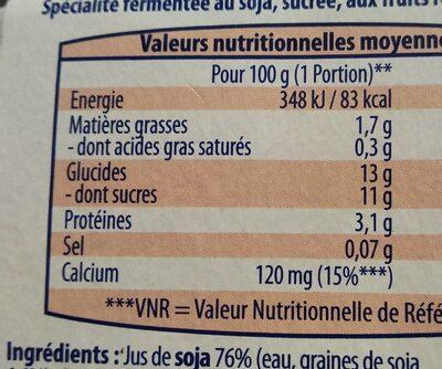 Spécialité végétale Soja Fruits rouges - Informations nutritionnelles