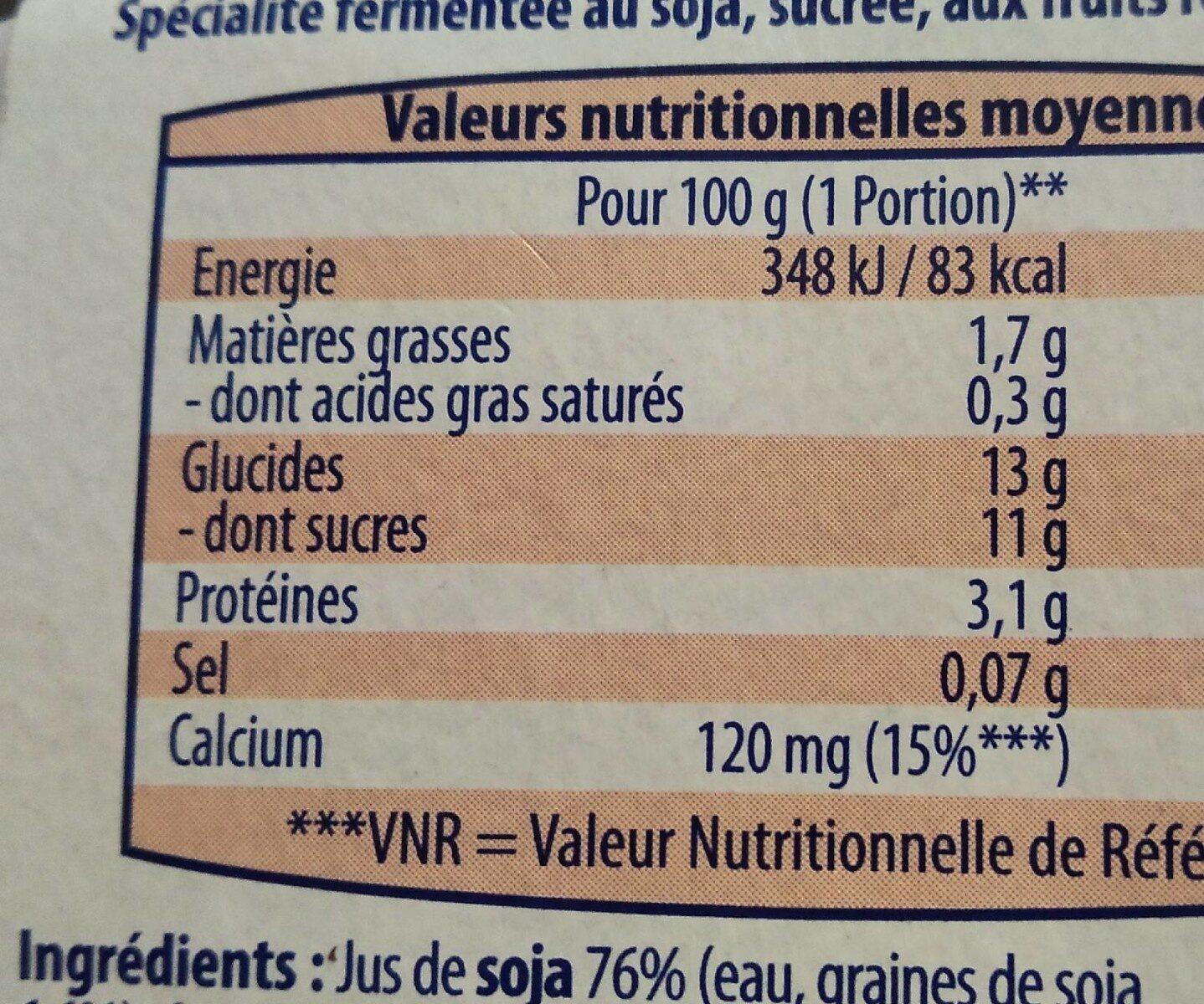 Spécialité végétale Soja Fruits rouges - Informations nutritionnelles - fr