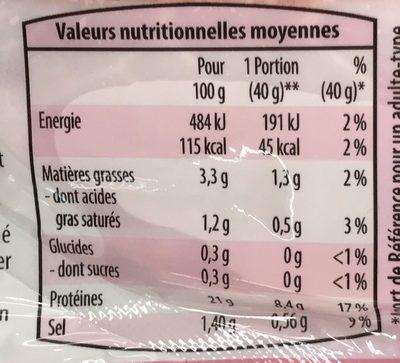 Jambon supérieur  -25% de sel - Nutrition facts