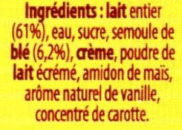 Semoule au lait - Ingrédients
