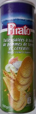 Tuiles salées à base de pommes de terre et céréales saveur crème & oignon - Produit