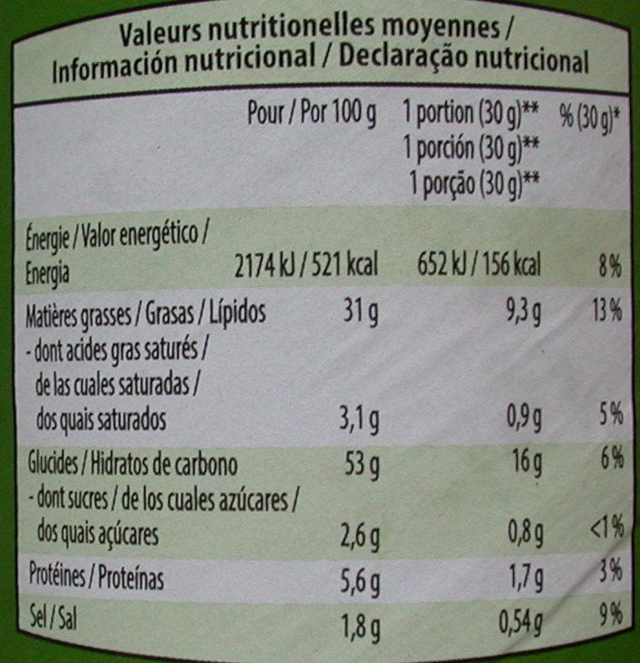 Tuiles salées à base de pommes de terre et céréales saveur crème & oignon - Informations nutritionnelles