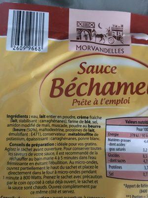 Sauce béchamel prête à l'emploi - Ingrediënten