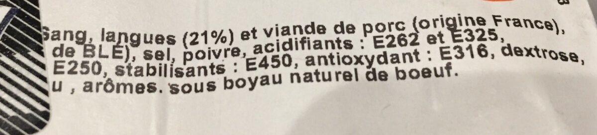 Boudin de langue - Ingrediënten - fr