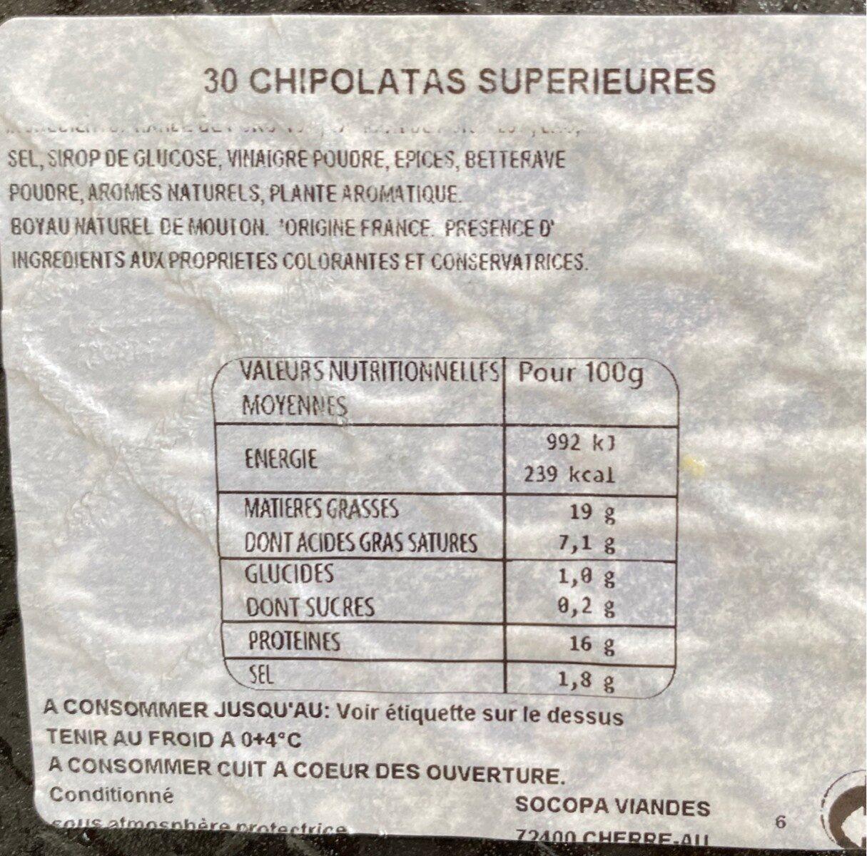 Chipolatas - Voedingswaarden - fr