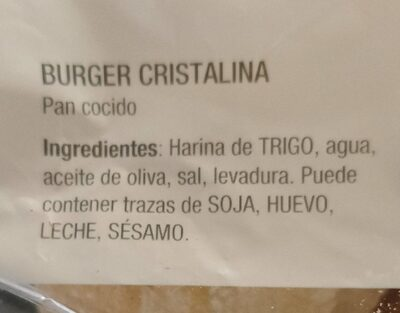 Burger Cristalina - Información nutricional
