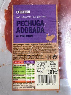 Pechuga de pavo adobada al pimentón - Informations nutritionnelles - es
