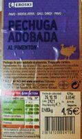 Pechuga adobada al pimentón - Información nutricional
