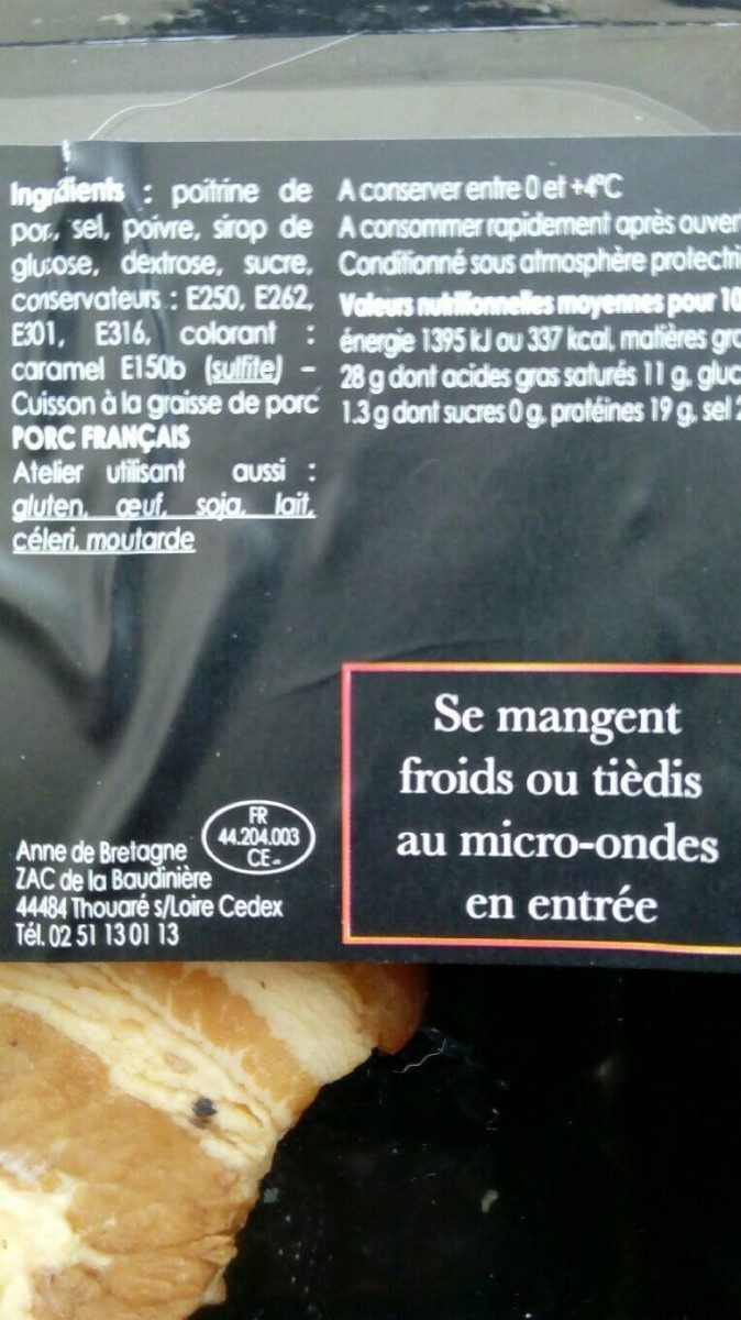 Rillauds - Informations nutritionnelles - fr