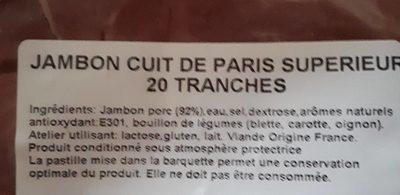 Jambon cuit de paris - Ingrediënten - fr