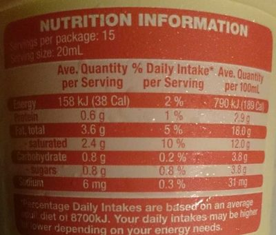 Light Thickened Cream - Nutrition facts - en