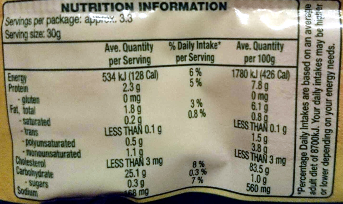 Brown Rice Crackers Multigrain - Nutrition facts