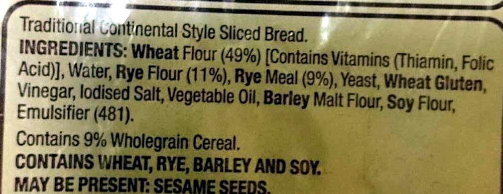 Light Rye - Ingredients - en