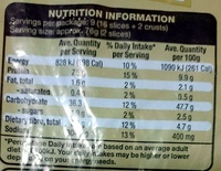 Light Rye - Nutrition facts
