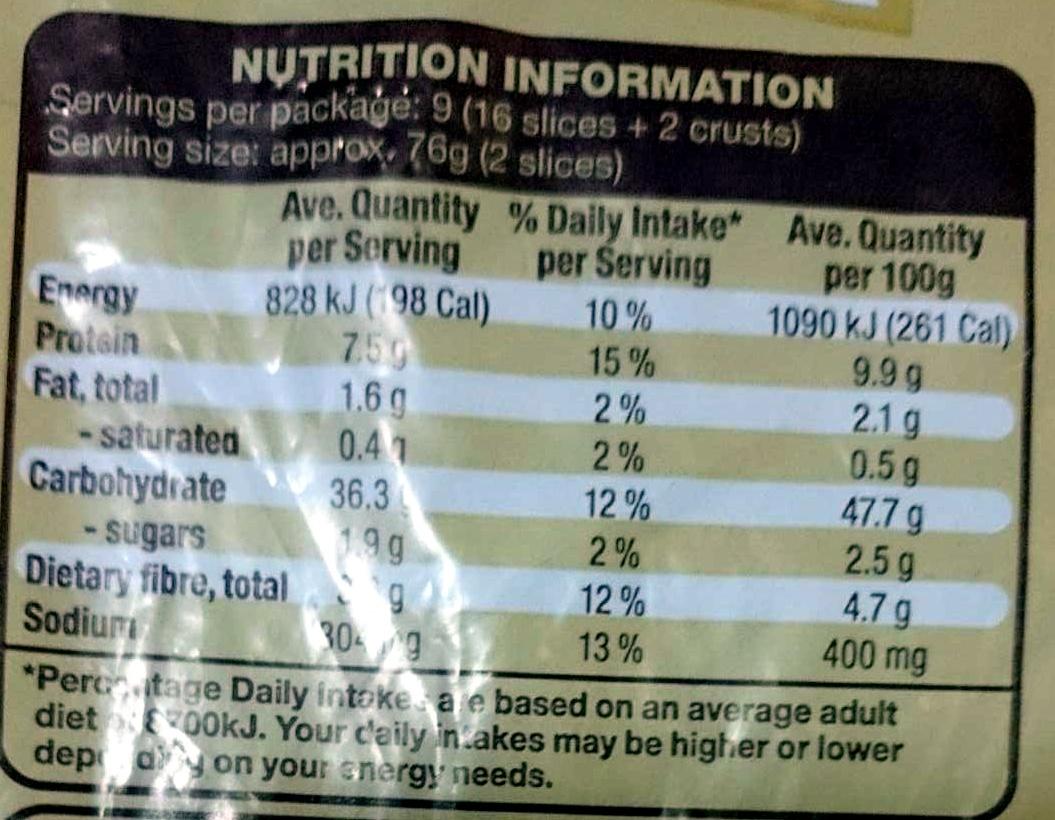 Light Rye - Nutrition facts - en