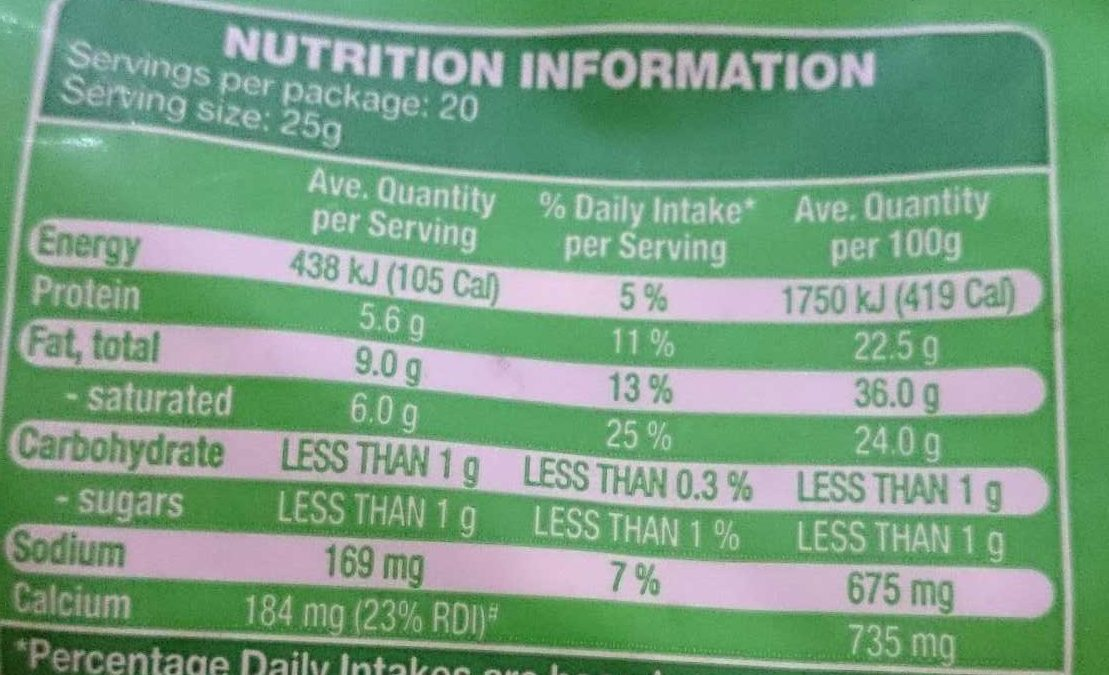 Natural Tasty Shredded Cheese - Nutrition facts - en