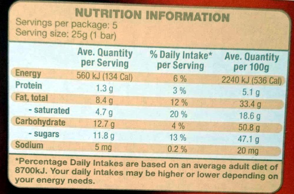 Finest Dark Chocolate - Orange & Almond - Informations nutritionnelles - en