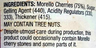 Morello Cherry Premium Fruit Spread - Ingredients