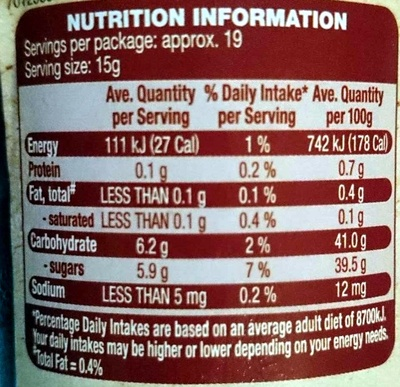 Morello Cherry Premium Fruit Spread - Nutrition facts