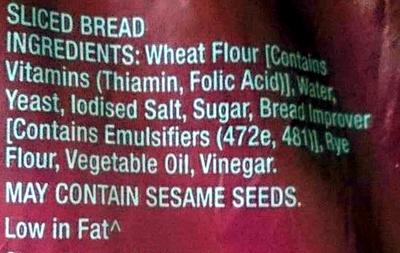 White Toast Sliced - Ingredients - en