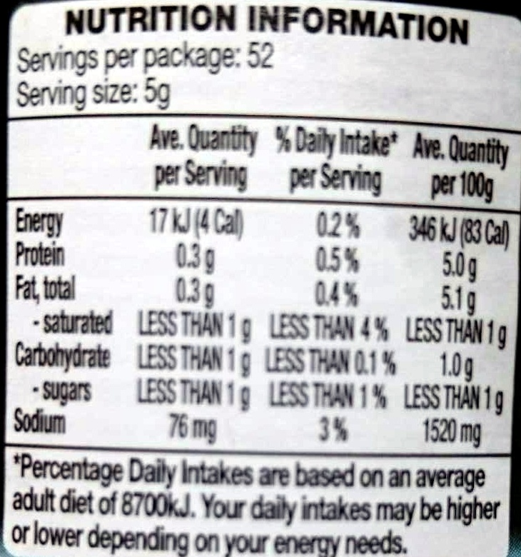 German Style Mustard With Herbs - Nutrition facts - en