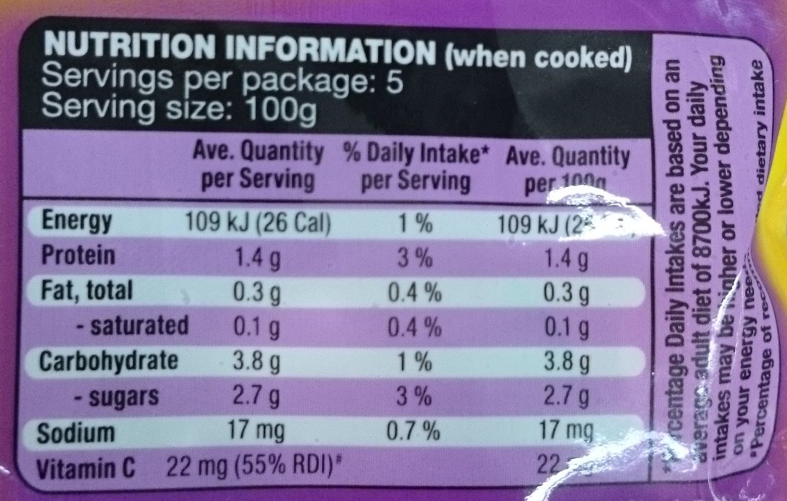 Stir Fry Oriental Selection - Nutrition facts